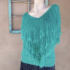 Vintage Sweaters - 1980s Teal Fringe Rayon Cotton Sweater Sz M B36